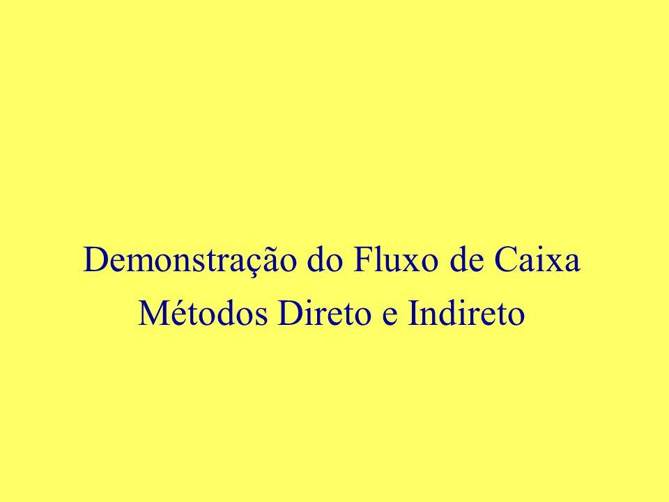 Demonstração do Fluxo de Caixa Métodos Direto e Indireto