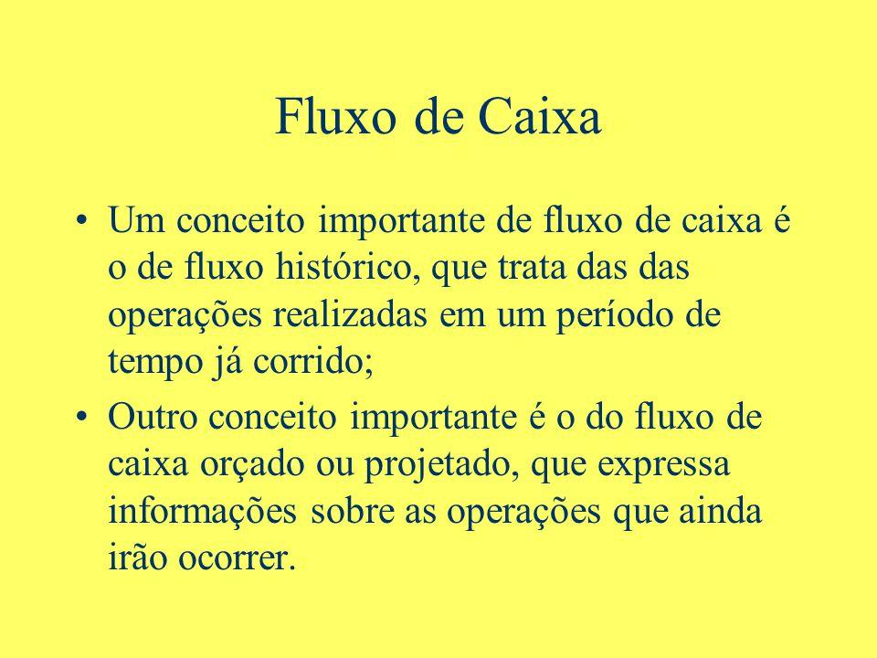 Fluxo de Caixa Um conceito importante de fluxo de caixa é o de fluxo histórico, que trata das das operações realizadas em um período de tempo já corri