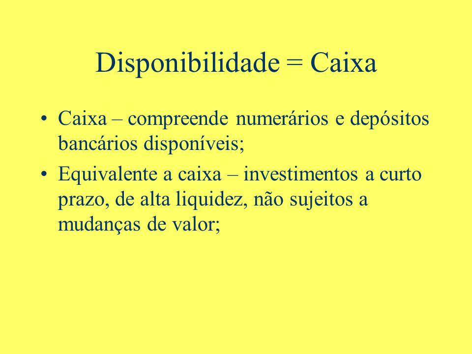 Disponibilidade = Caixa Caixa – compreende numerários e depósitos bancários disponíveis; Equivalente a caixa – investimentos a curto prazo, de alta liquidez, não sujeitos a mudanças de valor;