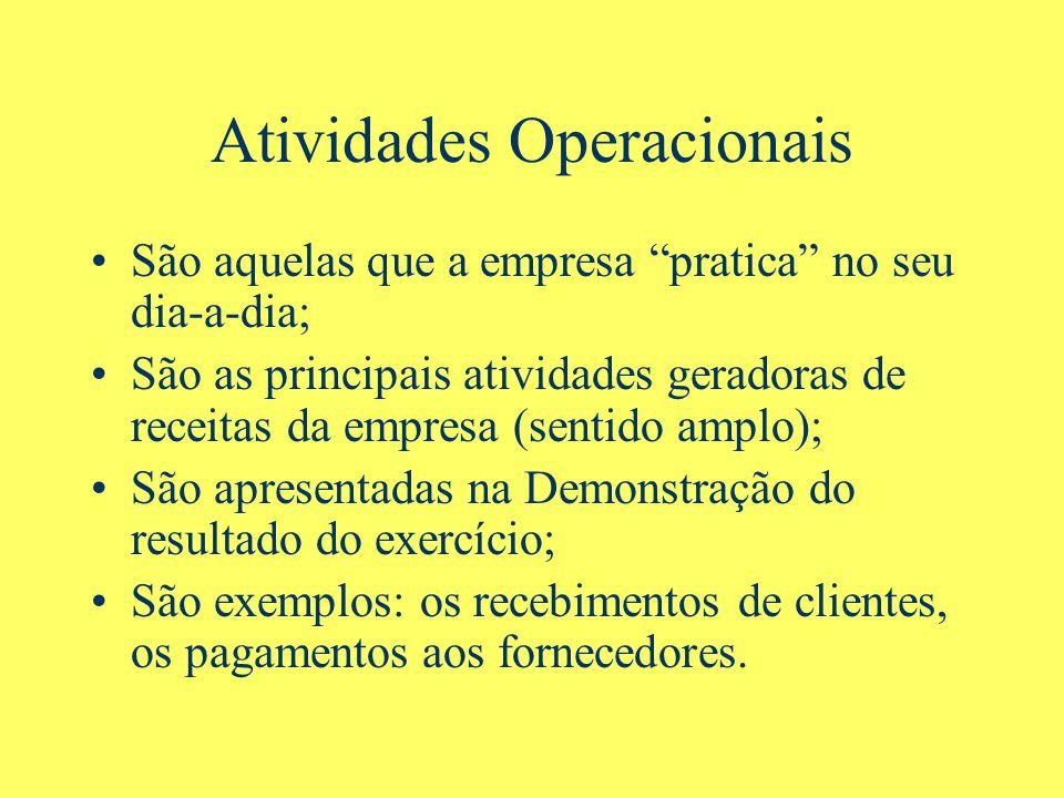 Atividades Operacionais São aquelas que a empresa pratica no seu dia-a-dia; São as principais atividades geradoras de receitas da empresa (sentido amp