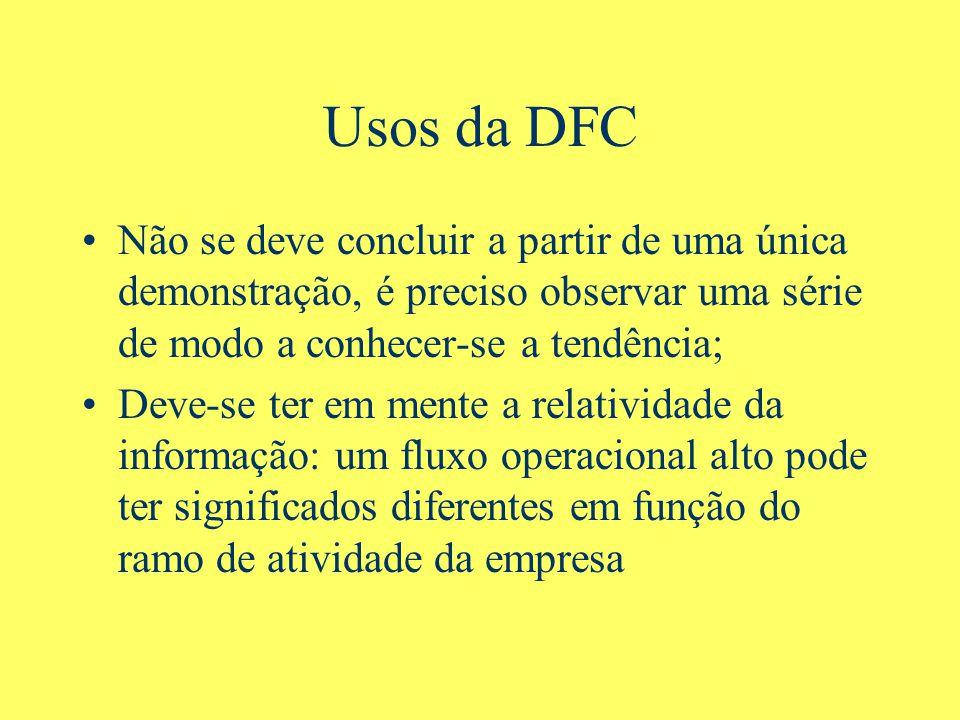 Usos da DFC Não se deve concluir a partir de uma única demonstração, é preciso observar uma série de modo a conhecer-se a tendência; Deve-se ter em mente a relatividade da informação: um fluxo operacional alto pode ter significados diferentes em função do ramo de atividade da empresa