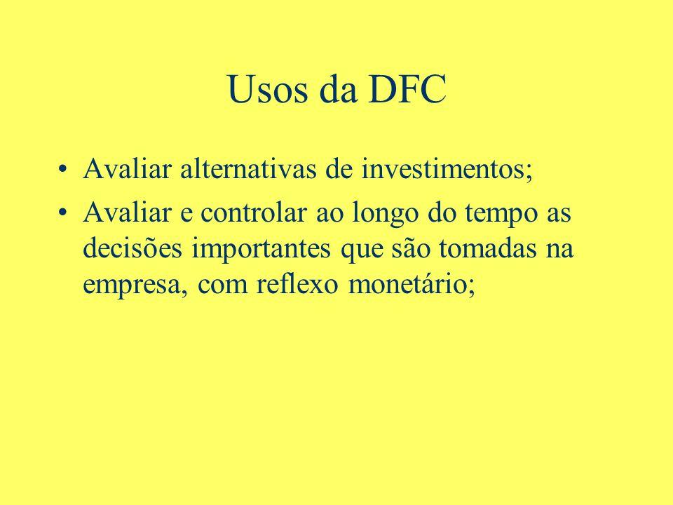 Usos da DFC Avaliar alternativas de investimentos; Avaliar e controlar ao longo do tempo as decisões importantes que são tomadas na empresa, com reflexo monetário;