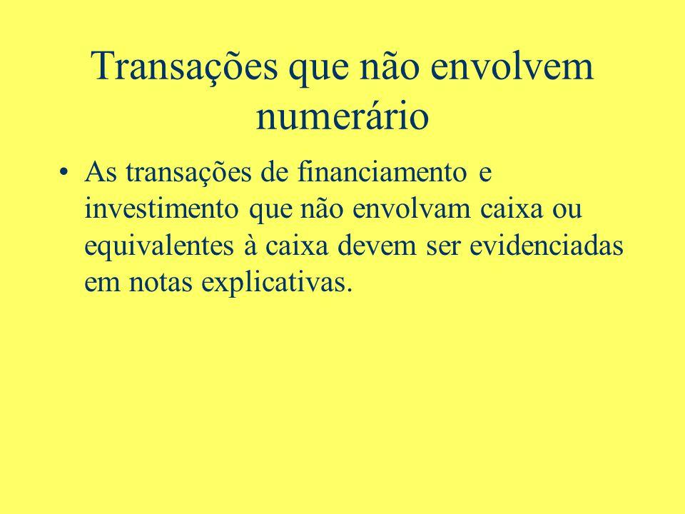 Transações que não envolvem numerário As transações de financiamento e investimento que não envolvam caixa ou equivalentes à caixa devem ser evidencia