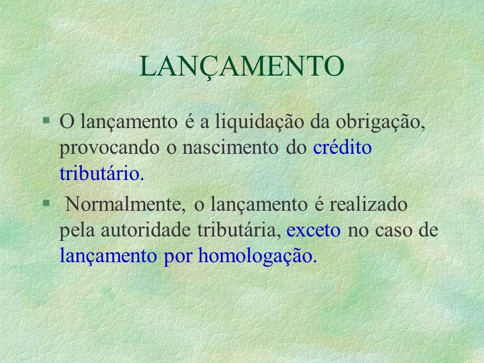 LANÇAMENTO §O lançamento é a liquidação da obrigação, provocando o nascimento do crédito tributário.