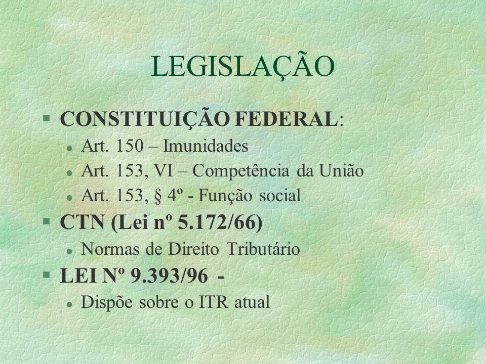 LEGISLAÇÃO §CONSTITUIÇÃO FEDERAL: l Art.150 – Imunidades l Art.
