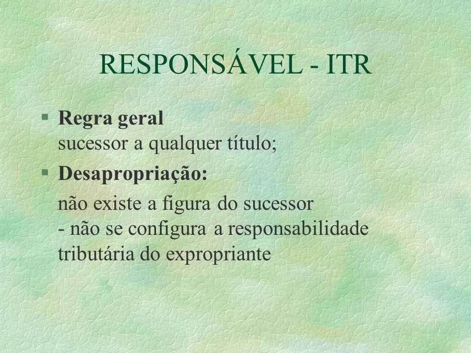 RESPONSÁVEL - ITR §Regra geral sucessor a qualquer título; §Desapropriação: não existe a figura do sucessor - não se configura a responsabilidade tributária do expropriante