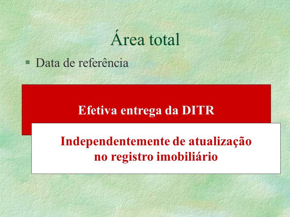 §Data de referência Efetiva entrega da DITR Independentemente de atualização no registro imobiliário