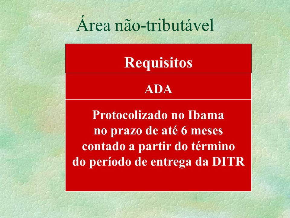 Área não-tributável Requisitos ADA Protocolizado no Ibama no prazo de até 6 meses contado a partir do término do período de entrega da DITR