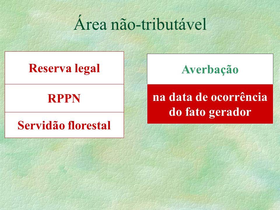 RPPN Área não-tributável Reserva legal Servidão florestal Averbação na data de ocorrência do fato gerador