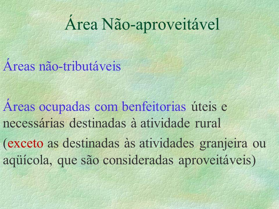 Áreas não-tributáveis Áreas ocupadas com benfeitorias úteis e necessárias destinadas à atividade rural (exceto as destinadas às atividades granjeira ou aqüícola, que são consideradas aproveitáveis)