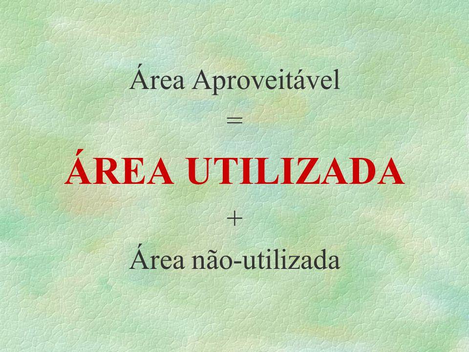 Área Aproveitável = ÁREA UTILIZADA + Área não-utilizada