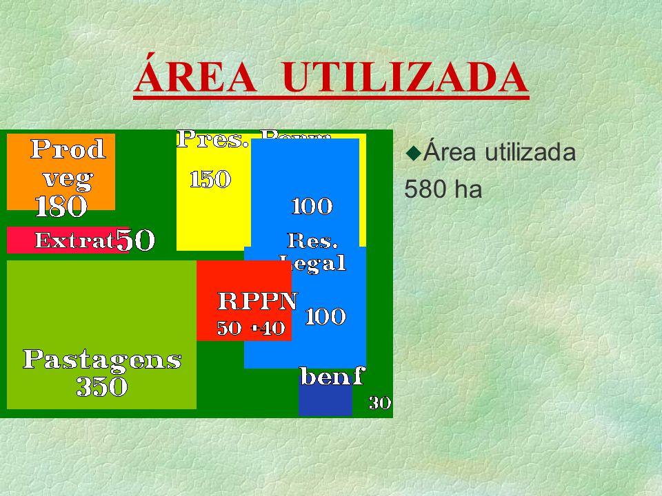 ÁREA UTILIZADA u Área utilizada 580 ha