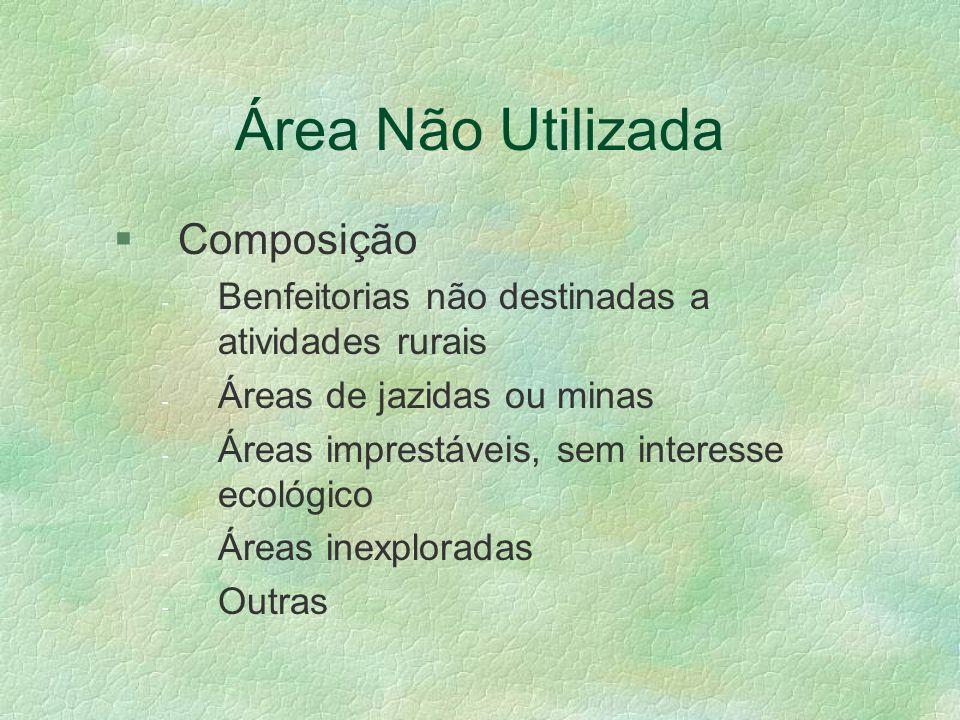 Área Não Utilizada §Composição - Benfeitorias não destinadas a atividades rurais - Áreas de jazidas ou minas - Áreas imprestáveis, sem interesse ecológico - Áreas inexploradas - Outras