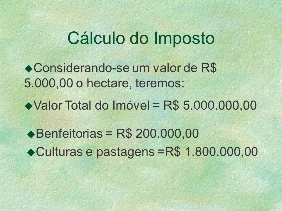 Cálculo do Imposto u Considerando-se um valor de R$ 5.000,00 o hectare, teremos: u Valor Total do Imóvel = R$ 5.000.000,00 u Benfeitorias = R$ 200.000,00 u Culturas e pastagens =R$ 1.800.000,00