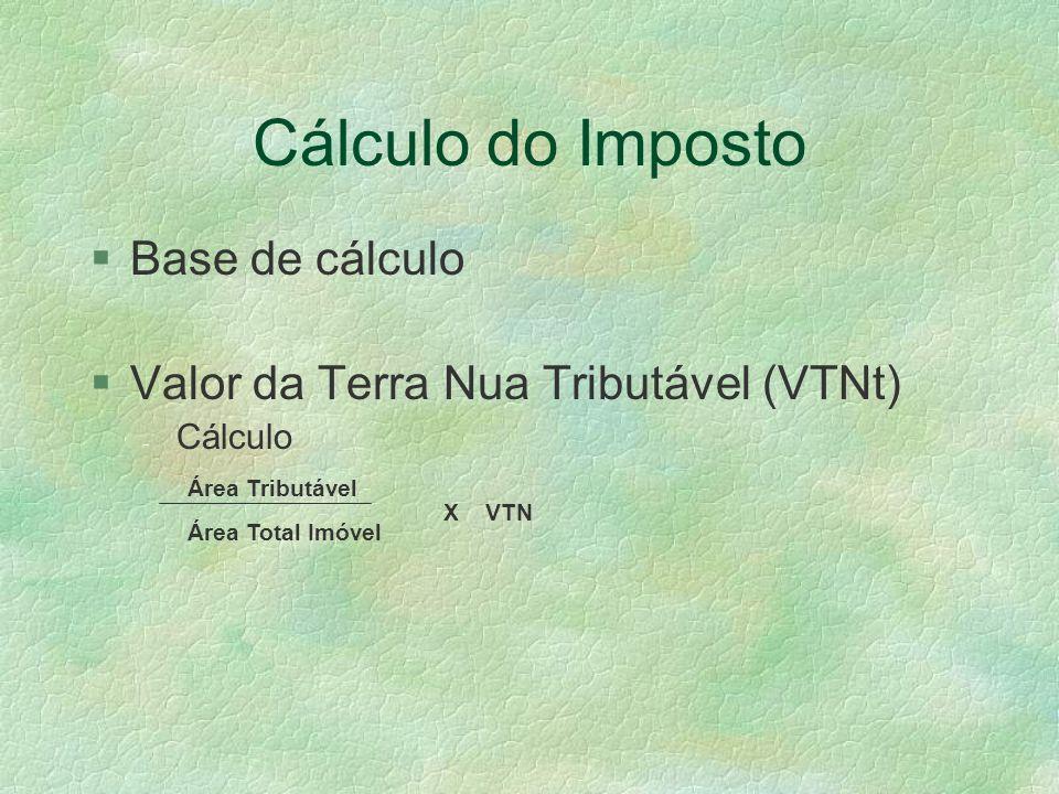 Cálculo do Imposto §Base de cálculo §Valor da Terra Nua Tributável (VTNt) - Cálculo Área Total Imóvel Área Tributável X VTN