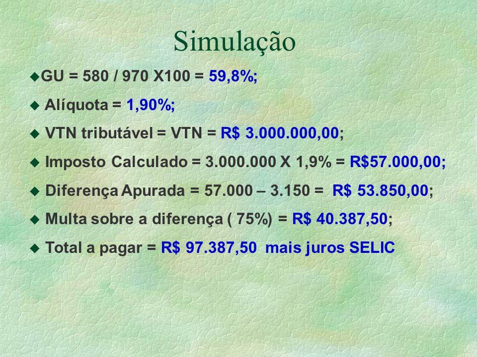 Simulação u GU = 580 / 970 X100 = 59,8%; u Alíquota = 1,90%; u VTN tributável = VTN = R$ 3.000.000,00; u Imposto Calculado = 3.000.000 X 1,9% = R$57.000,00; u Diferença Apurada = 57.000 – 3.150 = R$ 53.850,00; u Multa sobre a diferença ( 75%) = R$ 40.387,50; u Total a pagar = R$ 97.387,50 mais juros SELIC