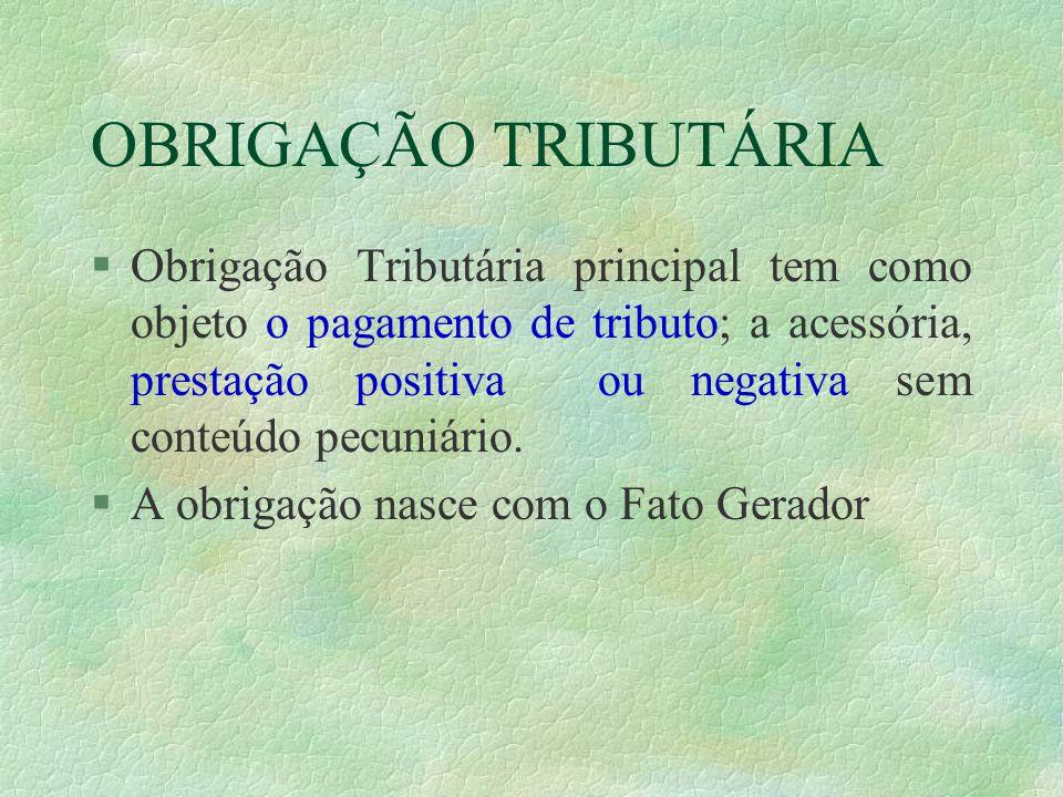 OBRIGAÇÃO TRIBUTÁRIA §Obrigação Tributária principal tem como objeto o pagamento de tributo; a acessória, prestação positiva ou negativa sem conteúdo pecuniário.