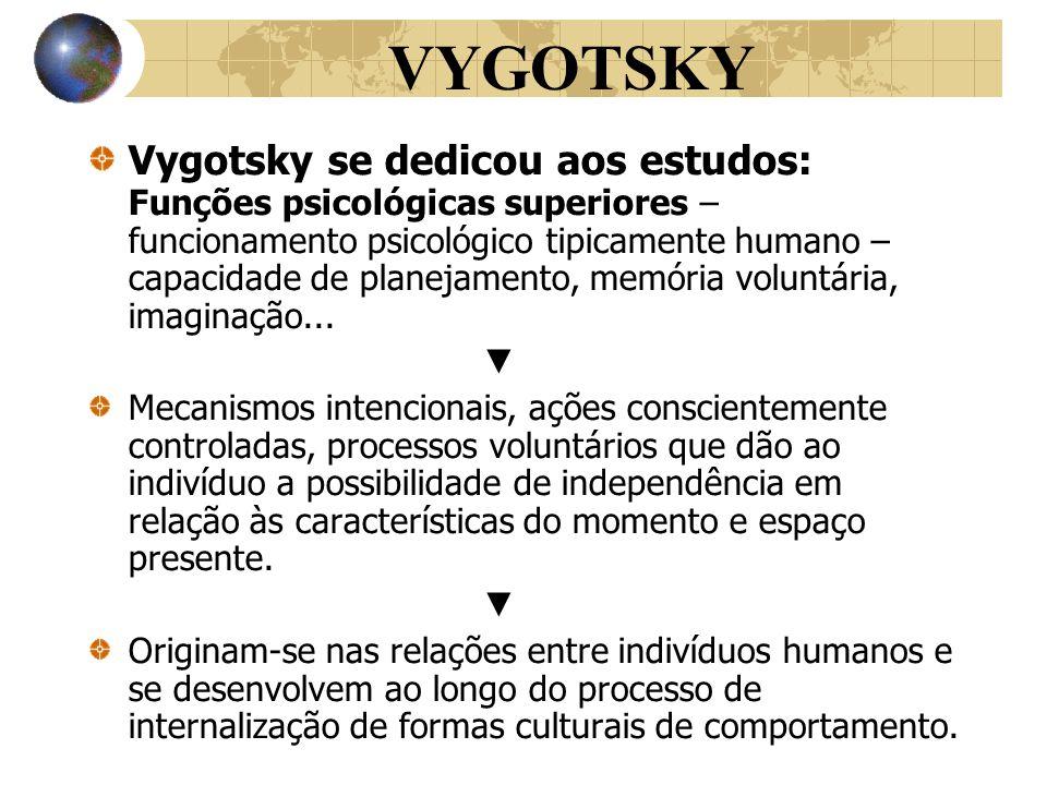 VYGOTSKY Vygotsky se dedicou aos estudos: Funções psicológicas superiores – funcionamento psicológico tipicamente humano – capacidade de planejamento,