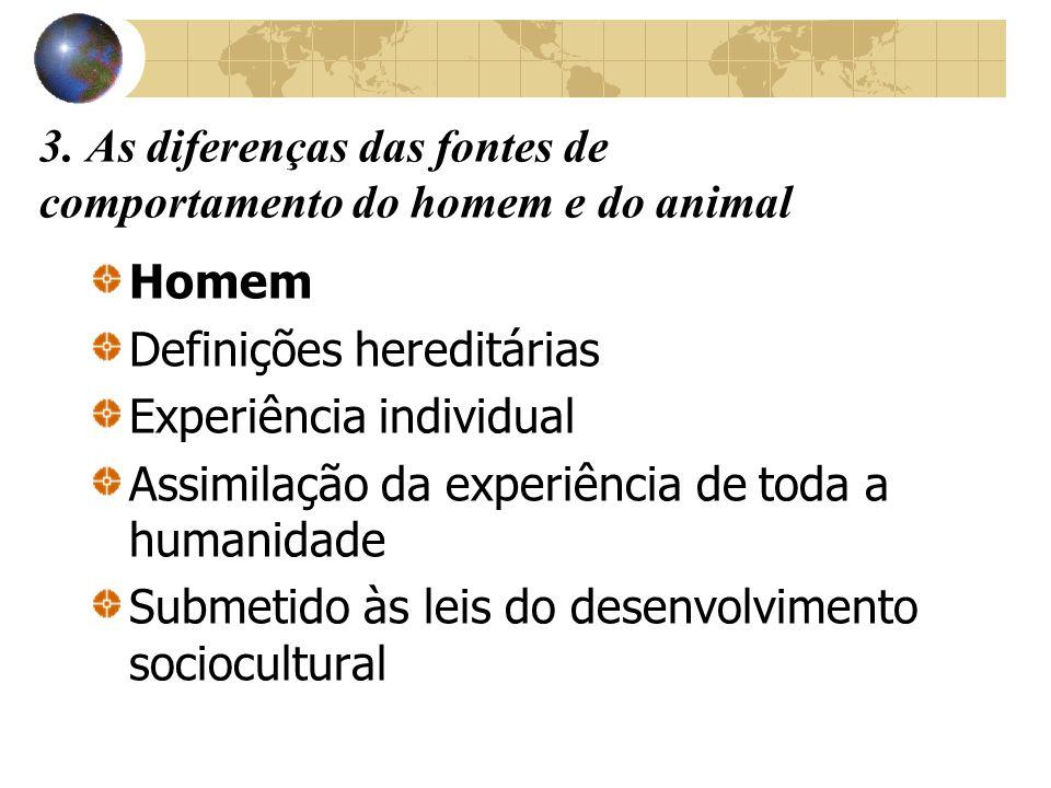3. As diferenças das fontes de comportamento do homem e do animal Homem Definições hereditárias Experiência individual Assimilação da experiência de t