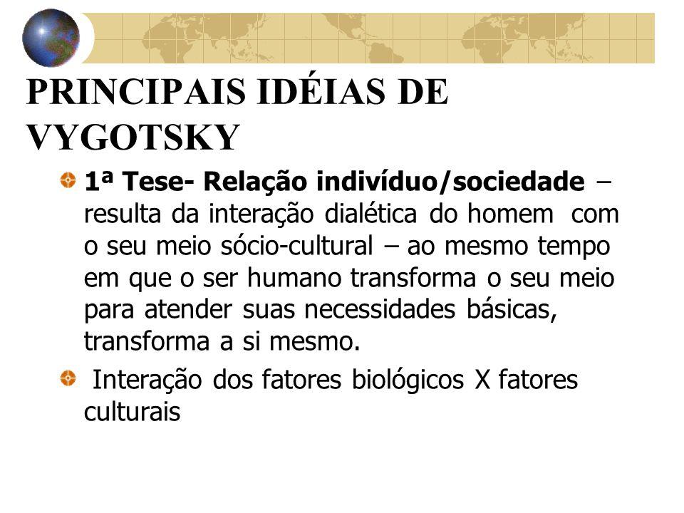 2ª Tese - Origem cultural das funções psíquicas: as funções psicológicas humanas se originam nas relações do indivíduo e seu contexto cultural e social.
