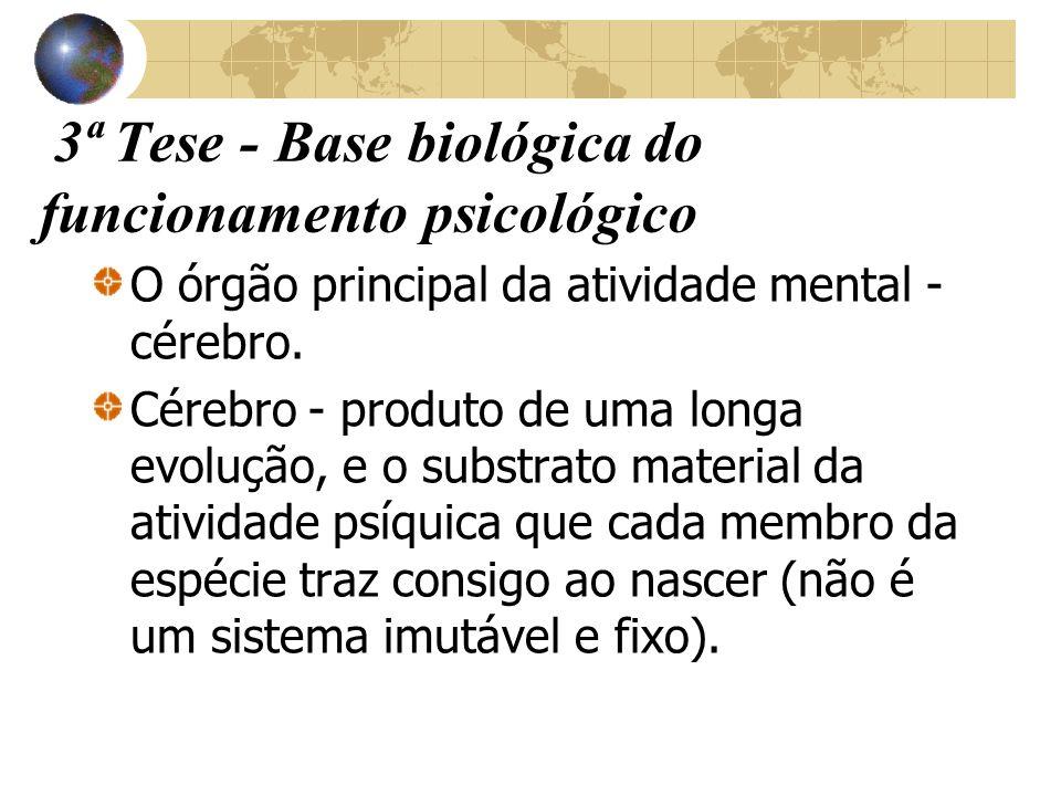 3ª Tese - Base biológica do funcionamento psicológico O órgão principal da atividade mental - cérebro. Cérebro - produto de uma longa evolução, e o su