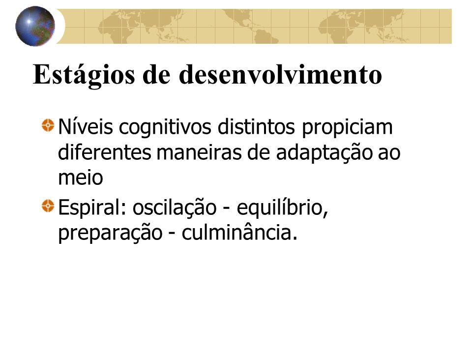Estágios de desenvolvimento Níveis cognitivos distintos propiciam diferentes maneiras de adaptação ao meio Espiral: oscilação - equilíbrio, preparação