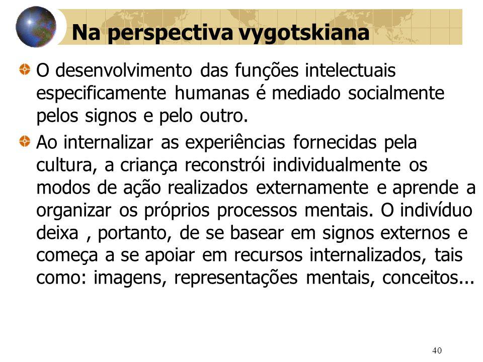 40 Na perspectiva vygotskiana O desenvolvimento das funções intelectuais especificamente humanas é mediado socialmente pelos signos e pelo outro.