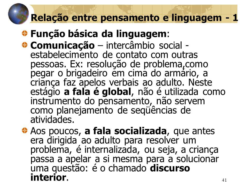 41 Relação entre pensamento e linguagem - 1 Função básica da linguagem: Comunicação – intercâmbio social - estabelecimento de contato com outras pessoas.