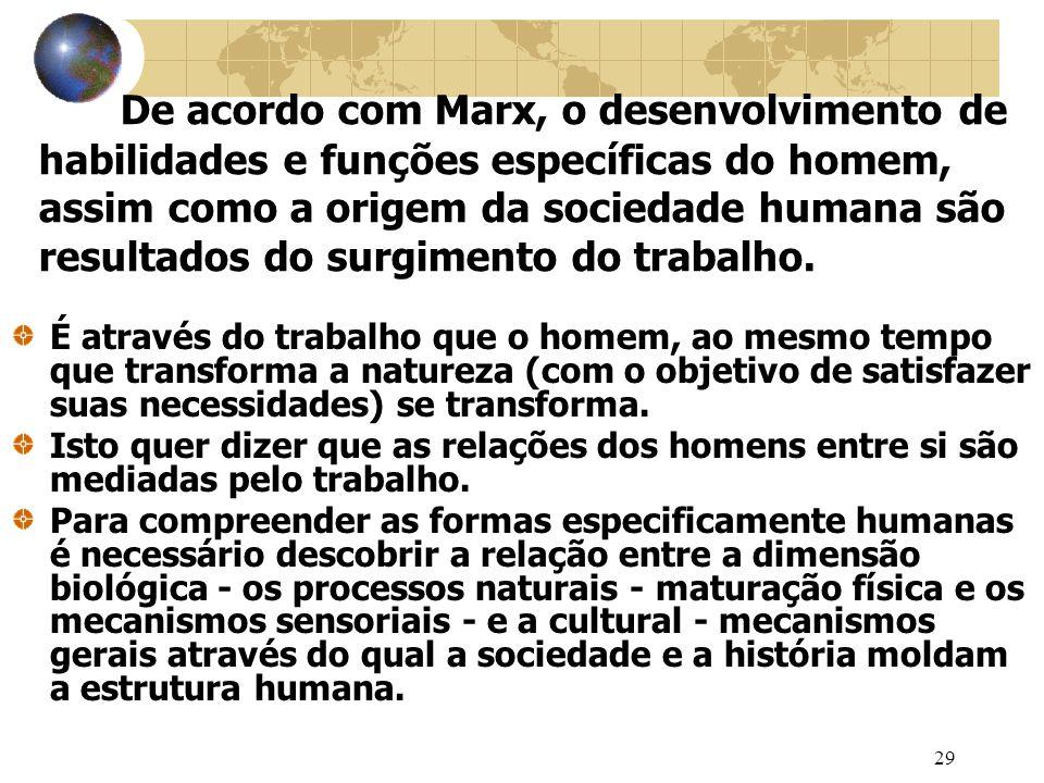 29 De acordo com Marx, o desenvolvimento de habilidades e funções específicas do homem, assim como a origem da sociedade humana são resultados do surgimento do trabalho.