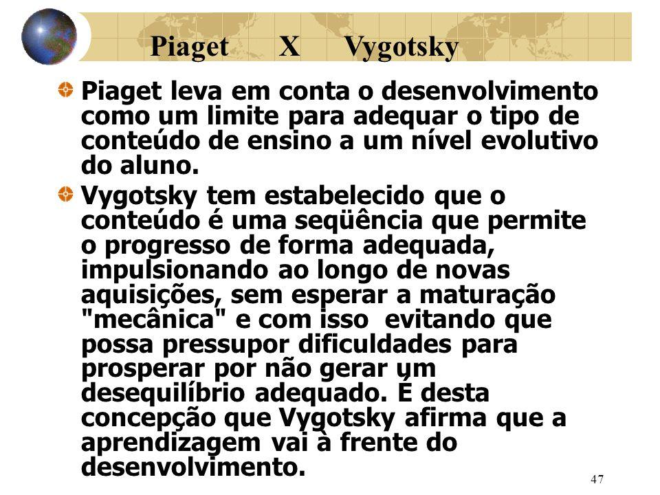 47 Piaget leva em conta o desenvolvimento como um limite para adequar o tipo de conteúdo de ensino a um nível evolutivo do aluno.