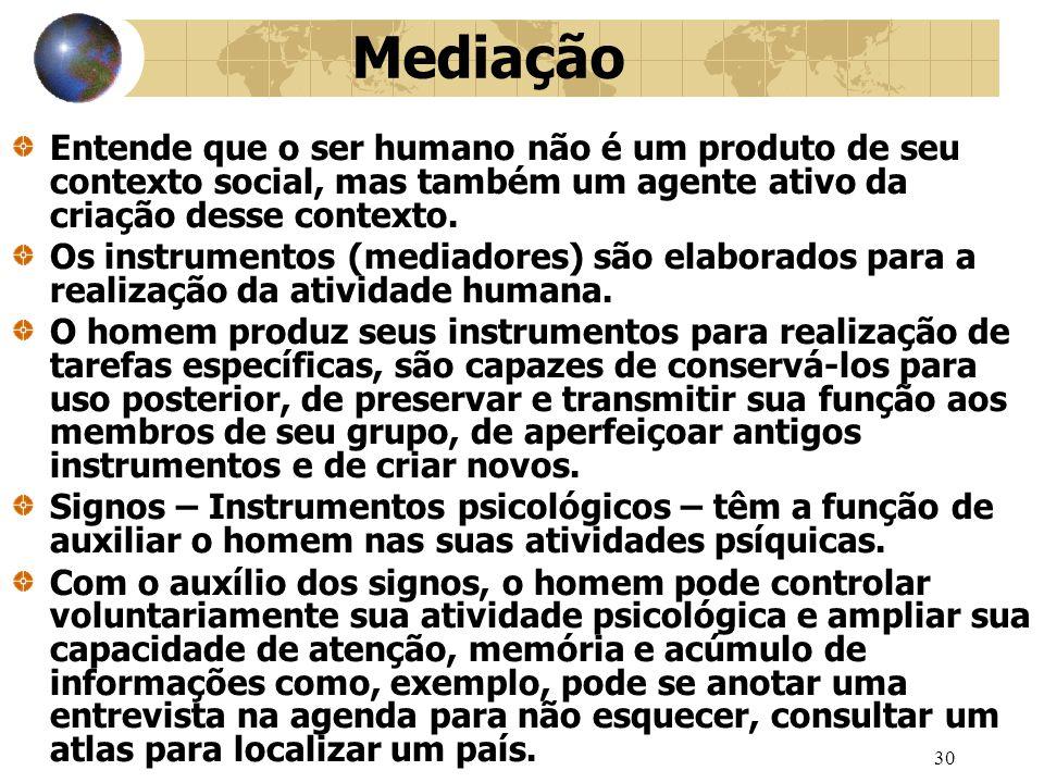 30 Mediação Entende que o ser humano não é um produto de seu contexto social, mas também um agente ativo da criação desse contexto.