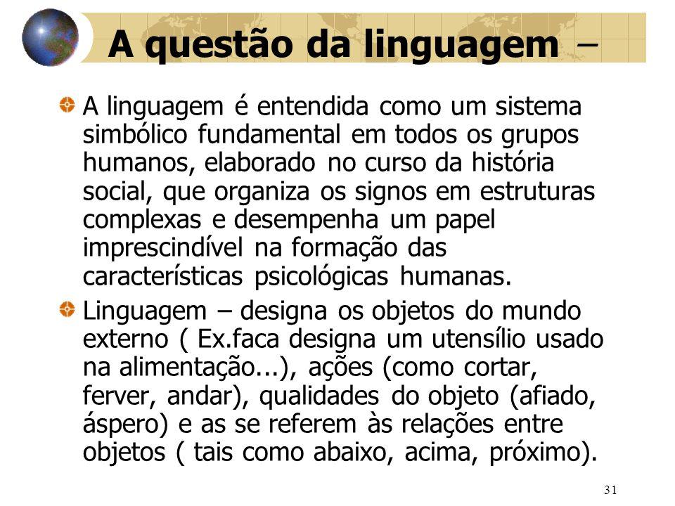 32 O surgimento da linguagem imprime três mudanças essenciais: 1ª A linguagem permite lidar com os objetos do mundo exterior mesmo quando eles estão ausentes.