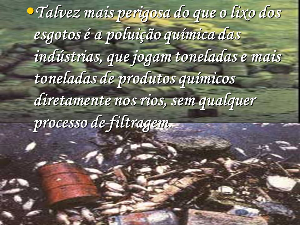 Talvez mais perigosa do que o lixo dos esgotos é a poluição química das indústrias, que jogam toneladas e mais toneladas de produtos químicos diretame