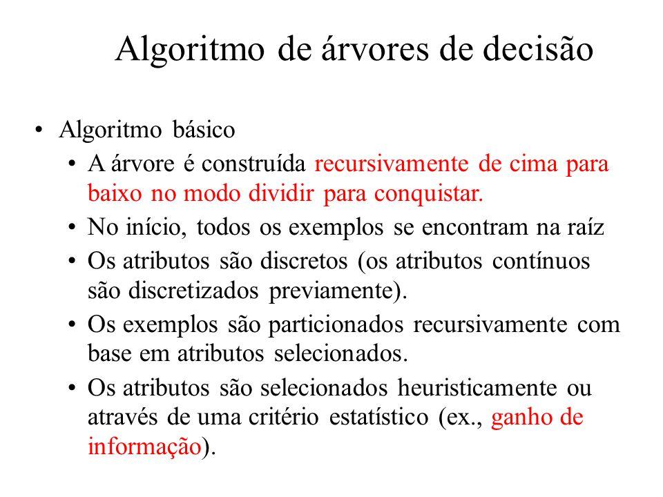 Algoritmo de árvores de decisão Algoritmo básico A árvore é construída recursivamente de cima para baixo no modo dividir para conquistar.