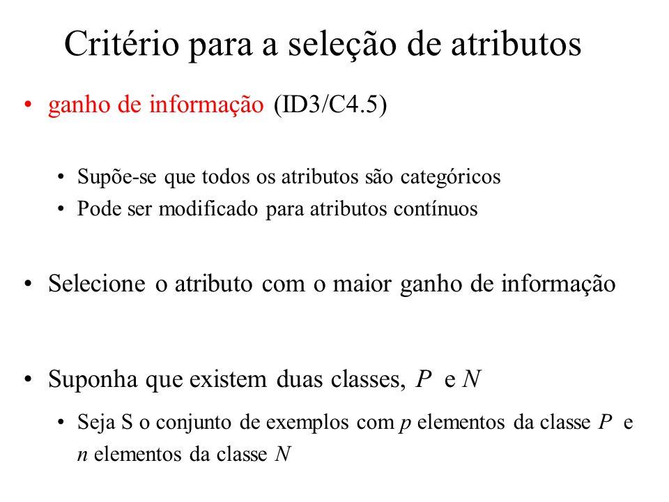 Critério para a seleção de atributos ganho de informação (ID3/C4.5) Supõe-se que todos os atributos são categóricos Pode ser modificado para atributos contínuos Selecione o atributo com o maior ganho de informação Suponha que existem duas classes, P e N Seja S o conjunto de exemplos com p elementos da classe P e n elementos da classe N