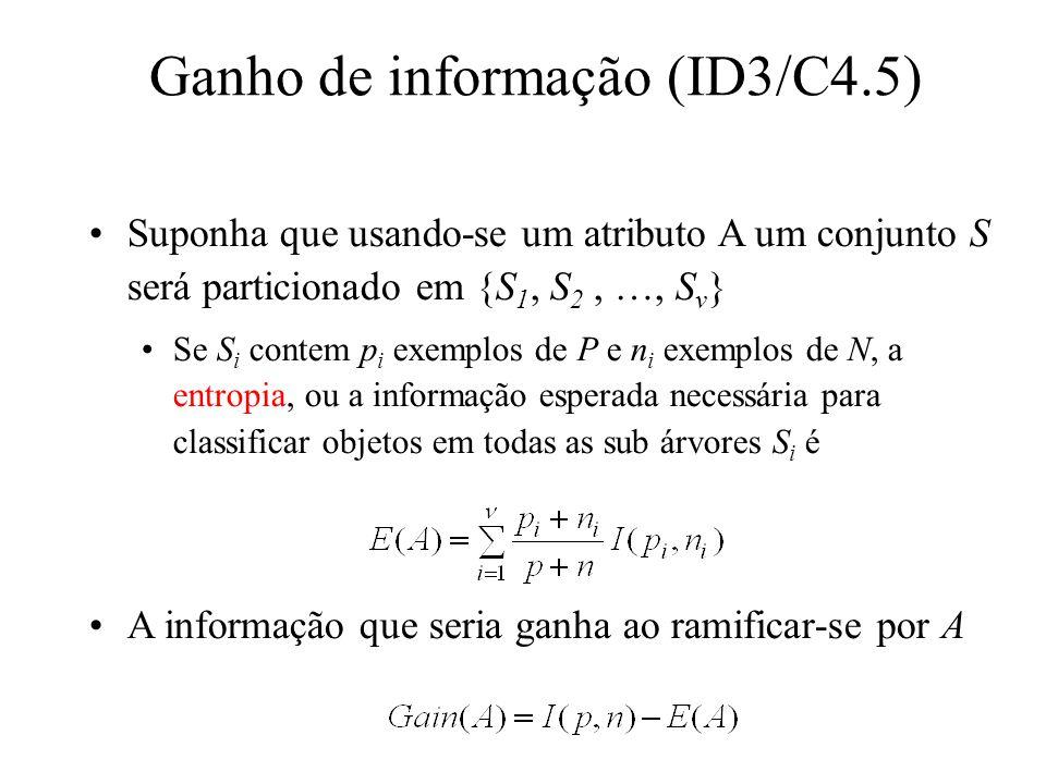Suponha que usando-se um atributo A um conjunto S será particionado em {S 1, S 2, …, S v } Se S i contem p i exemplos de P e n i exemplos de N, a entropia, ou a informação esperada necessária para classificar objetos em todas as sub árvores S i é A informação que seria ganha ao ramificar-se por A Ganho de informação (ID3/C4.5)