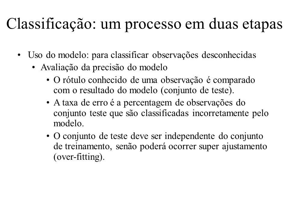 Classificação: um processo em duas etapas Uso do modelo: para classificar observações desconhecidas Avaliação da precisão do modelo O rótulo conhecido de uma observação é comparado com o resultado do modelo (conjunto de teste).