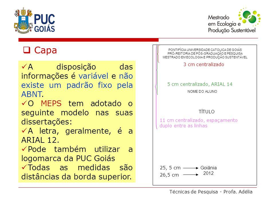 Técnicas de Pesquisa - Profa. Adélia Capa A disposição das informações é variável e não existe um padrão fixo pela ABNT. O MEPS tem adotado o seguinte