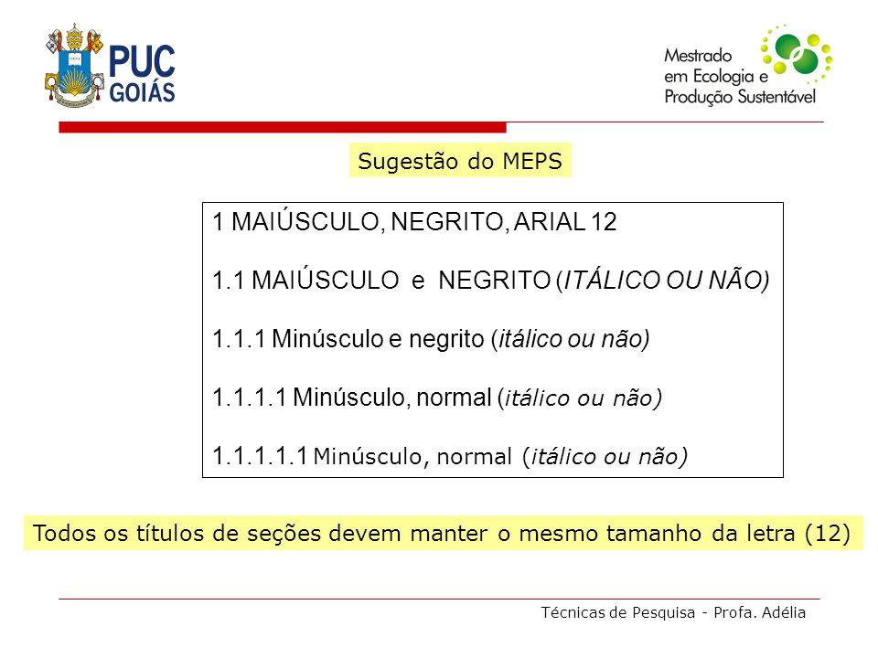 Técnicas de Pesquisa - Profa. Adélia Sugestão do MEPS 1 MAIÚSCULO, NEGRITO, ARIAL 12 1.1 MAIÚSCULO e NEGRITO (ITÁLICO OU NÃO) 1.1.1 Minúsculo e negrit