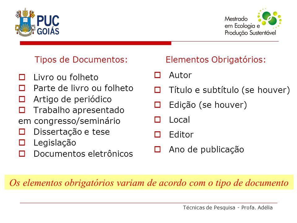 Técnicas de Pesquisa - Profa. Adélia Tipos de Documentos: Livro ou folheto Parte de livro ou folheto Artigo de periódico Trabalho apresentado em congr
