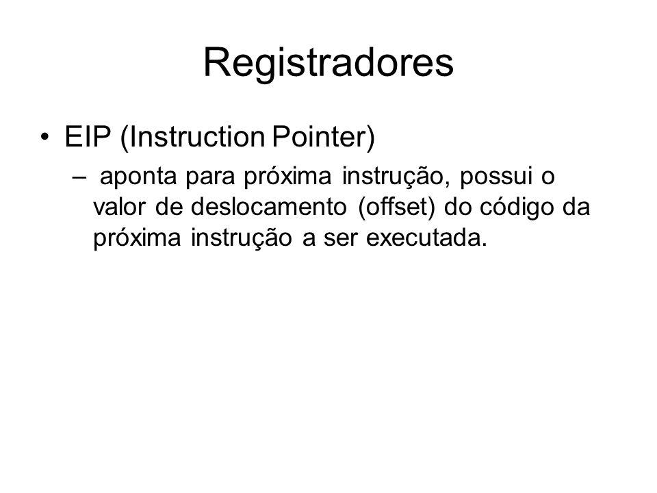 Registradores EIP (Instruction Pointer) – aponta para próxima instrução, possui o valor de deslocamento (offset) do código da próxima instrução a ser