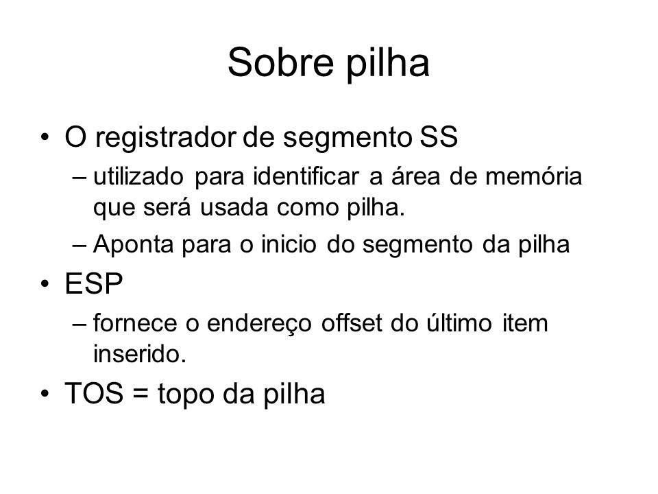 Sobre pilha O registrador de segmento SS –utilizado para identificar a área de memória que será usada como pilha. –Aponta para o inicio do segmento da