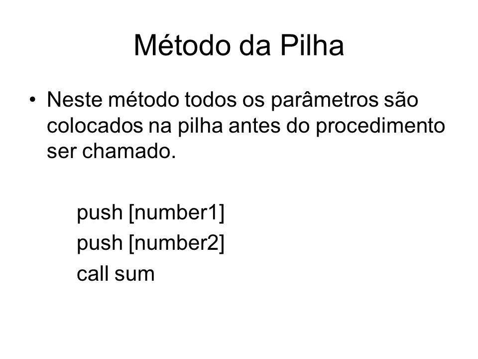 Método da Pilha Neste método todos os parâmetros são colocados na pilha antes do procedimento ser chamado. push [number1] push [number2] call sum