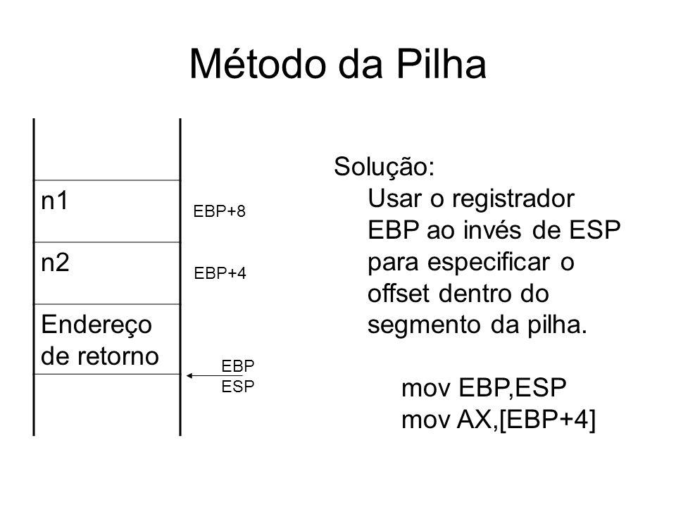Método da Pilha n1 n2 Endereço de retorno EBP ESP Solução: Usar o registrador EBP ao invés de ESP para especificar o offset dentro do segmento da pilh