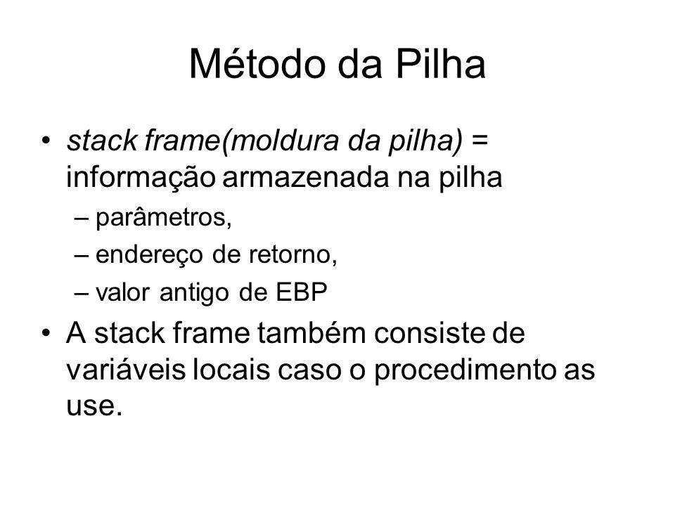 Método da Pilha stack frame(moldura da pilha) = informação armazenada na pilha –parâmetros, –endereço de retorno, –valor antigo de EBP A stack frame t
