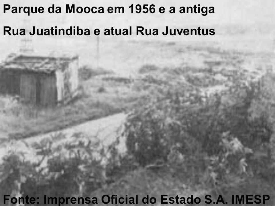 Parque da Mooca em 1956 e a antiga Rua Juatindiba e atual Rua Juventus Fonte: Imprensa Oficial do Estado S.A.