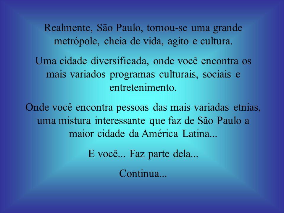 Realmente, São Paulo, tornou-se uma grande metrópole, cheia de vida, agito e cultura. Uma cidade diversificada, onde você encontra os mais variados pr