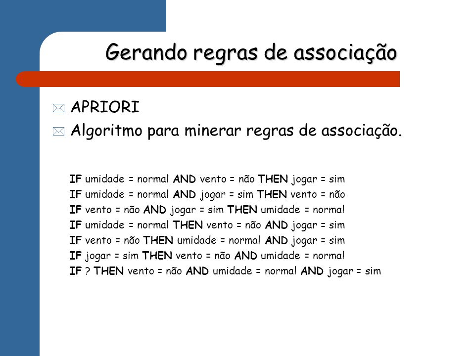 Saída do algoritmo Best rules found: 1.temperature=cool humidity=normal windy=FALSE ==> play=yes conf:(1) 2.