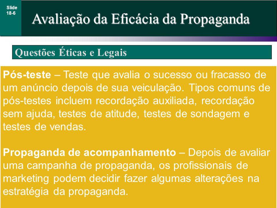 Questões Éticas e Legais Avaliação da Eficácia da Propaganda Slide 18-6 Pós-teste – Teste que avalia o sucesso ou fracasso de um anúncio depois de sua veiculação.