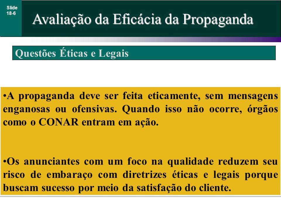 Questões Éticas e Legais Avaliação da Eficácia da Propaganda Slide 18-6 A propaganda deve ser feita eticamente, sem mensagens enganosas ou ofensivas.